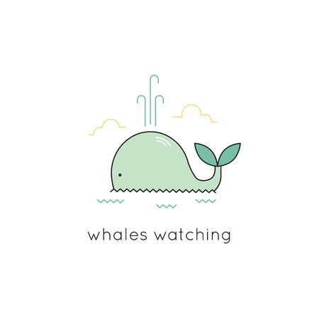 cachalot: Whale vector thin line icon. Colored isolated symbol. Logo template, element for travel agency products, tour brochure, excursion banner. Simple mono linear modern design.