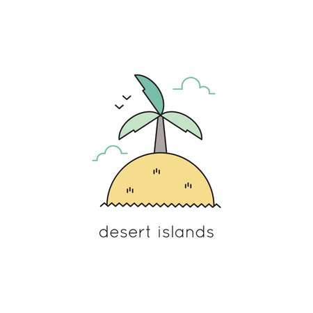 lagoon: Desert island vector thin line icon. Colored isolated symbol. Logo template, element for travel agency products, tour brochure, excursion banner. Simple mono linear modern design.