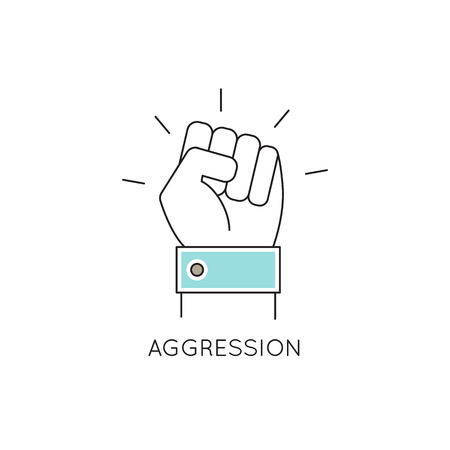 Vector thin line icon, problems in couple. Big fist. Metaphor of aggression and family tyranny. Colored isolated symbol. Simple mono linear modern design.