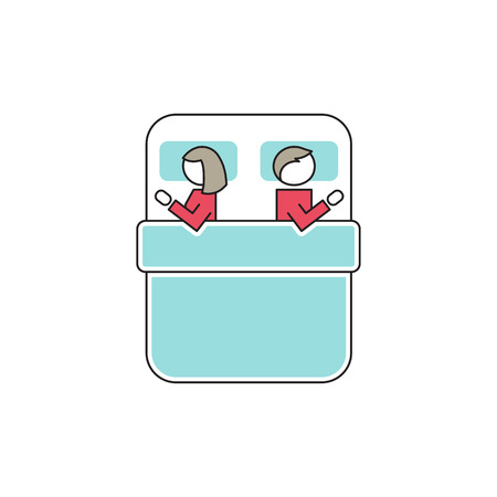 disharmony: Vector thin line icon, sexual problems in couple. Man and woman in bed. Metaphor of disharmony in intimate relationships. Colored isolated symbol.
