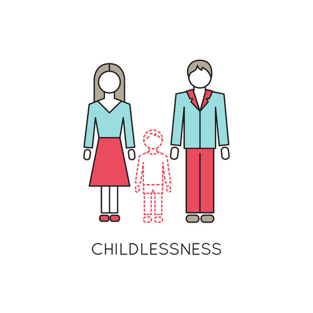 Vector thin line icon, problems in couple. Man and woman without a child. Illustration