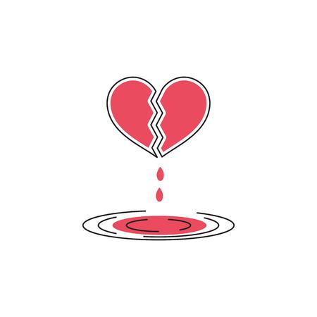 Vector thin line icon of broken bleeding heart on white background