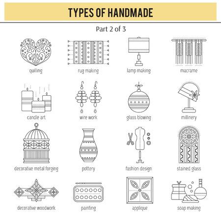 Types of handmade set Illustration