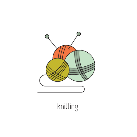 Knitting line icon