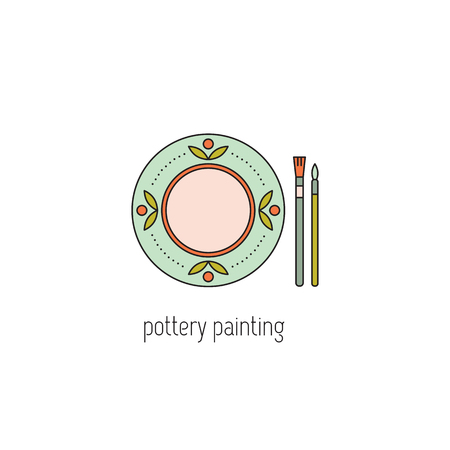 Pottery painting line icon Illustration