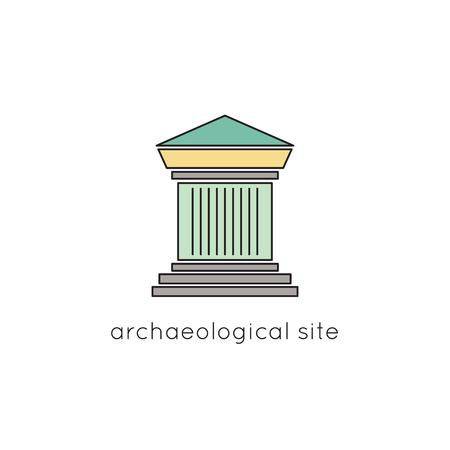 roman column: Archaeological site line icon