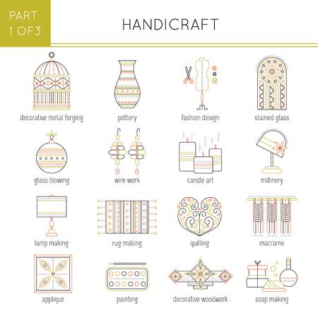 Types of handmade set Ilustração