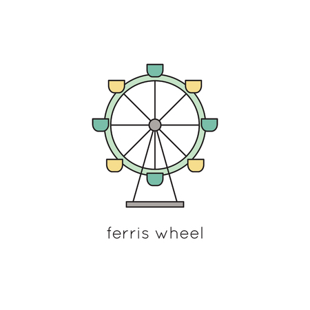 turnabout: Ferris wheel line icon Illustration