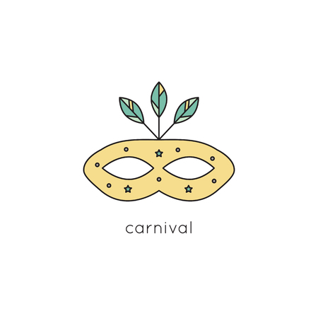 stage costume: Carnival mask line icon