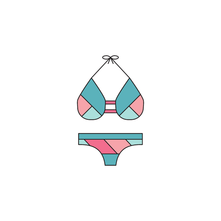 hot woman: Swimming suit line icon