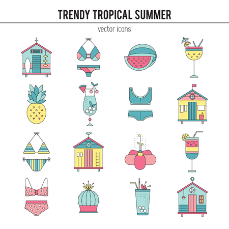 beach party: Summer line icons set
