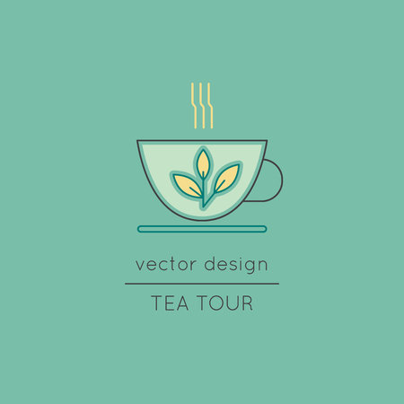 Tea cup line icon Illustration
