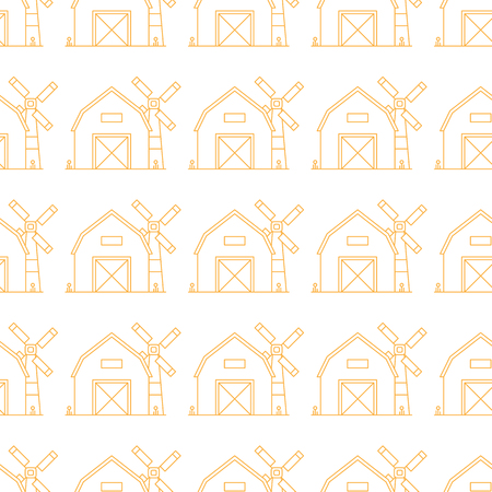 Simple seamless pattern. Vector background with farm barns and mills. Can be used for wallpaper, surface textures, scrapbooking, fabric prints. For farm fresh organic products, brochures and banners. Иллюстрация