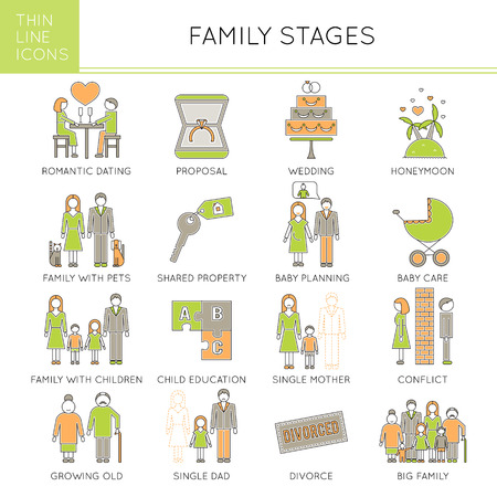 Thin line icons set, vector illustration. Family stages, couple relationships. Romantic dating and proposal, wedding, children and pets, conflict and divorce. Strong metaphors, isolated symbols.