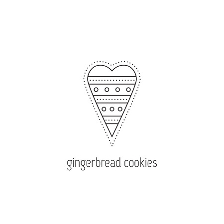illustration technique: Cookies vector thin line icon. Decorated gingerbread in a shape of heart. Isolated symbol. Logo template, element for business card or workshop announcement. Simple mono linear modern design.