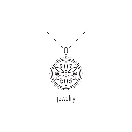 A Jewelry vector thin line icon. Beautiful necklace with gemstones. Isolated symbol. Logo template, element for business card or workshop announcement. Simple mono linear modern design.