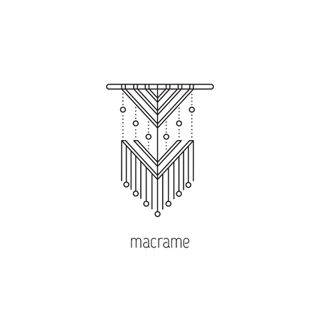 Macrame vector thin line icon. A form of textile-making using knotting. Colored isolated symbol. Logo template, element for business card or workshop announcement. Simple mono linear modern design.
