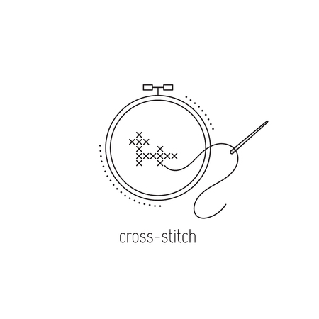 Cross-stitch vector thin line icon, embroidery hoop with a needle. Colored isolated symbol. Logo template, element for business card or workshop announcement. Simple mono linear modern design.