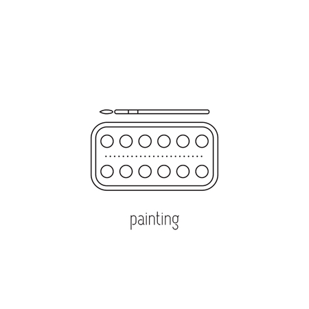 painting vector thin line icon watercolor paint and paintbrush