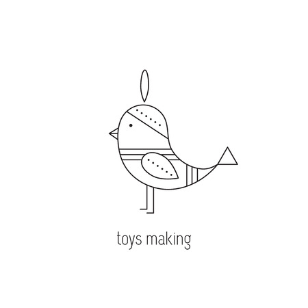 Toys making vector thin line icon. Handmade toy bird. Colored isolated symbol. Logo template, element for business card or workshop announcement. Simple mono linear modern design. Illustration