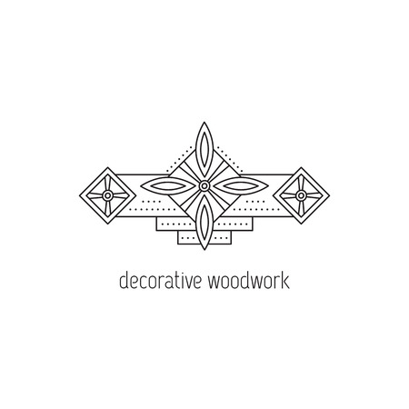 hand carved: Decorative woodwork vector thin line icon. Wooden molding. Isolated symbol. Logo template, element for business card or workshop announcement. Simple mono linear modern design. Illustration