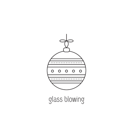 Glass blowing vector thin line icon. Handmade decorated Christmas ball. Isolated symbol. Logo template, element for business card or workshop announcement. Simple mono linear modern design.