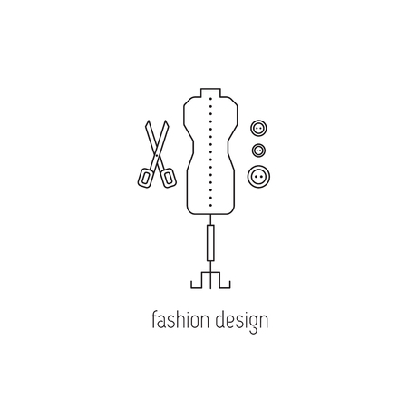 illustration technique: Fashion design vector thin line icon. Mannequin, scissors and buttons. Isolated symbol. Logo template, element for business card or workshop announcement. Simple mono linear modern design.
