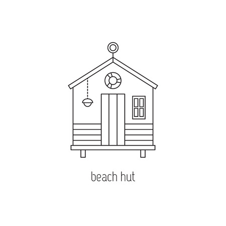 Strandhut lijn icoon Stock Illustratie