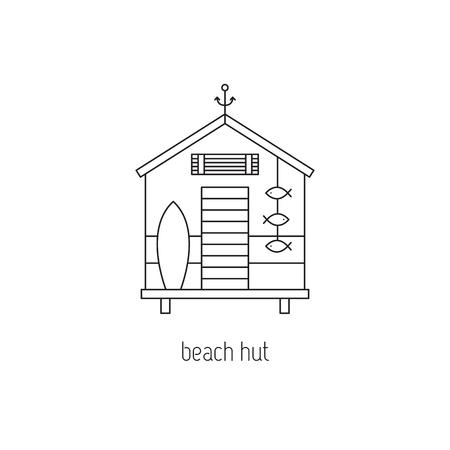 Beach hut line icon