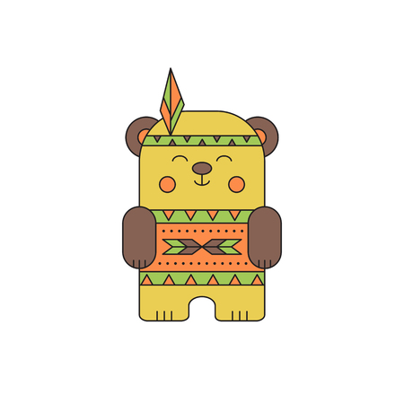 ancient civilization: Indian bear line icon