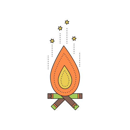 ancient civilization: Tribal vector thin line icon, fireplace, campfire. Boho element, bohemian style. Logo template. Isolated illustration. Simple mono linear modern design.