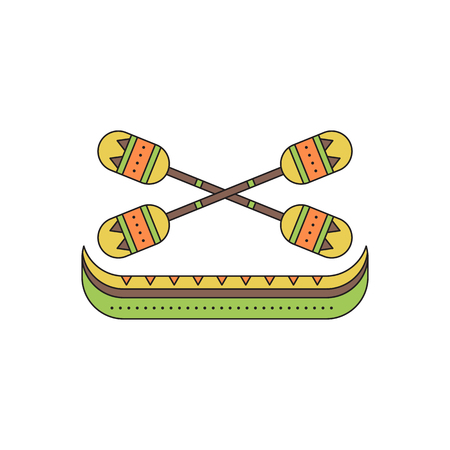 oars: Pirogue with oars line icon Illustration