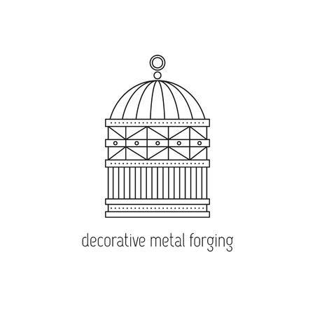 Decorative metal forging line icon