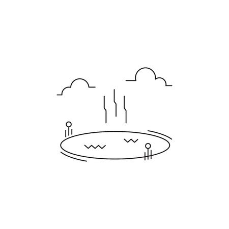 Hot springs line icon