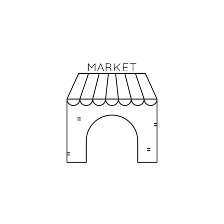 market place: Souvenir market line icon Illustration