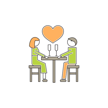 faithfulness: Romantic dating line icon
