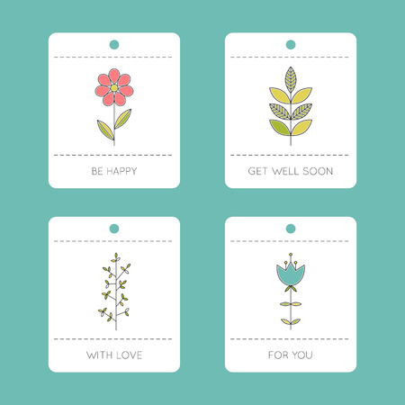 Set of floral cards Stock Vector - 81304135