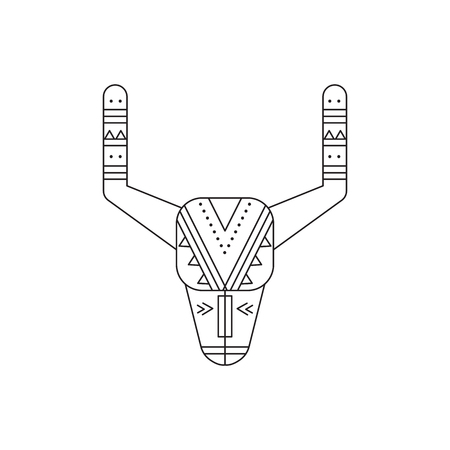 reservation: Buffalo skull line icon Stock Photo