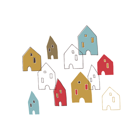 minimalistic: Vector hand drawn houses