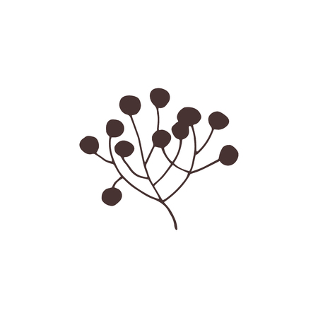 minimalistic: Vector hand drawn isolated floral elements, a bunch of berries. Simple modern design, scandinavian style. For holiday cards, decorations, templates. Part of a large winter collection.