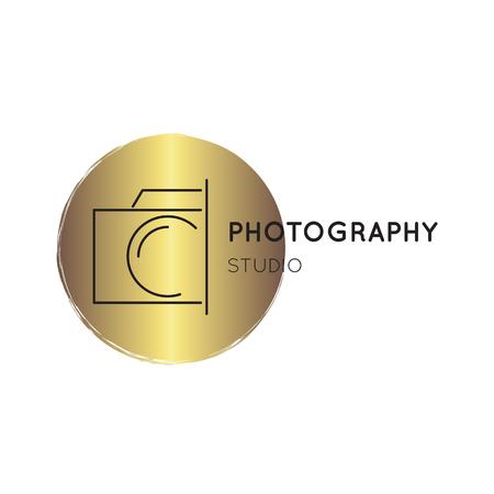 写真ライン ロゴのテンプレート  イラスト・ベクター素材