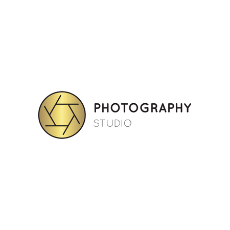 Vector thin line icon, camera shutter silhouette. Logo template illustration for photographer, photography studio, shop or school. Isolated symbol. Simple mono linear modern design with golden foil. Illustration
