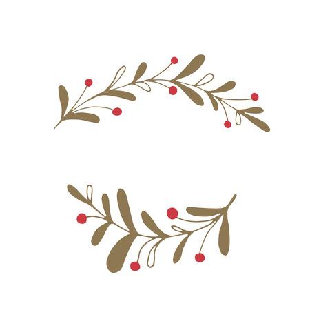 A Vector Christmas floral element on a plain background. Illustration