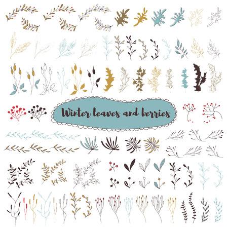 Christmas set of floral elements Ilustração
