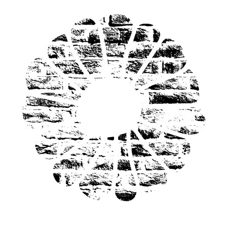 Vector textured Christmas cookie, stylized imprint on bricks. Black on white isolated element for holiday cards or stamp brushes creating.