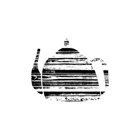 Vector textured teapot, stylized imprint on wood planks. Black on white illustration, isolated element for holiday cards or stamp brushes creating. It will bring depth and vintage texture to any work. Illustration