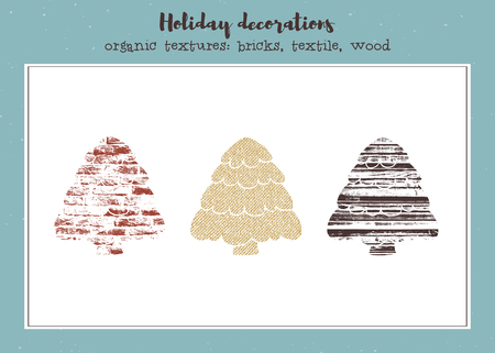 Vector set of textured Christmas trees Ilustrace