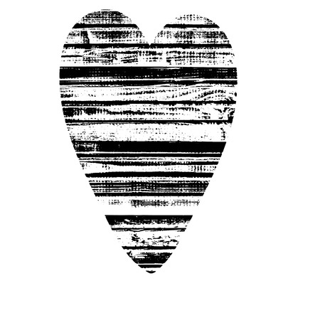 Vector textured heart, stylized imprint on wood planks. Black on white isolated element for holiday cards or stamp brushes creating. It will bring depth and vintage texture to any work.