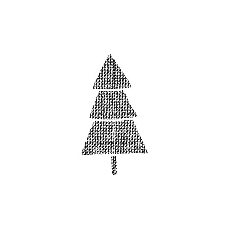 Vector textured Christmas tree, stylized imprint on fabric. Black on white isolated element for holiday cards or stamp brushes creating. It will bring depth and vintage texture to any work.