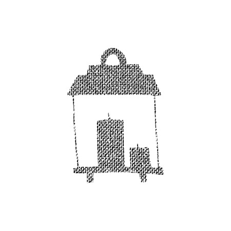Vector textured lantern, stylized imprint on fabric. Black on white illustration, isolated element for holiday cards or stamp brushes creating. It will bring depth and vintage texture to any work.